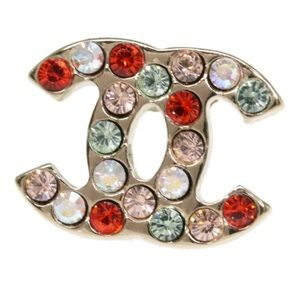 CHANEL Jewelry - CHANEL Small Gold Multicolor CC Coco Rhinestone